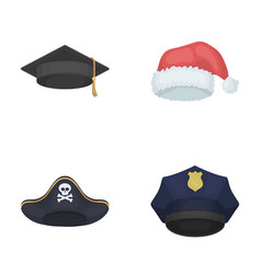 Graduate santa police pirate hats set vector