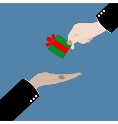 hand giving a gift in vector image vector image