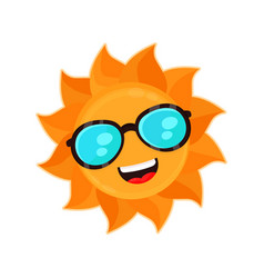 happy funny smiling sun with sunglass vector image