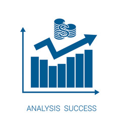 Icon chart analysis success blue vector