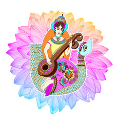 Indian goddess saraswati playing on veena astride vector