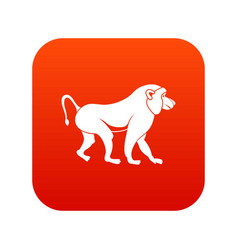 Japanese macaque icon digital red vector