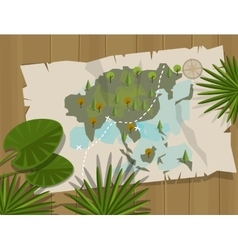 Jungle map asia cartoon adventure vector