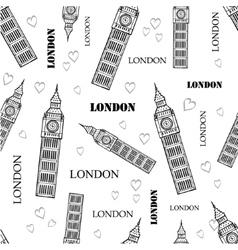London symbols black white seamless pattern vector