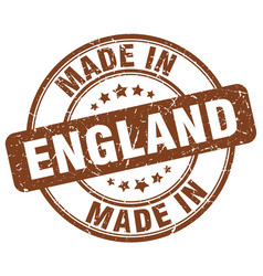 made in england brown grunge round stamp vector image