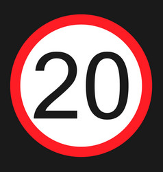 Maximum speed limit 20 sign flat icon vector