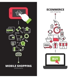 Mobile online shopping 2 vertical banners set vector image