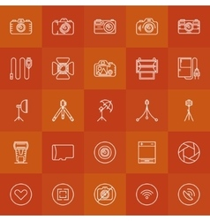 Photography linear icons set vector