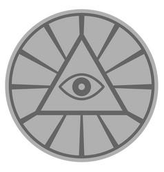 Pyramid eye silver coin vector