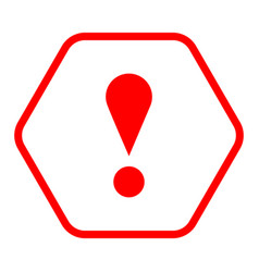 red hexagon exclamation mark icon warning sign vector image