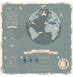 Retro style design with aircrafts and globe vector