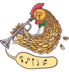 Rooster with trumpet vector