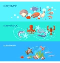 Sea food banner set vector