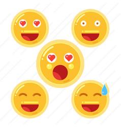 set of smiley face emoji in flat design icon vector image