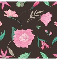 Summer floral pattern on brown background vector