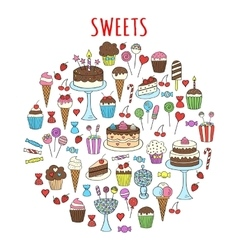 Sweets set icons hand drawn doodle vector