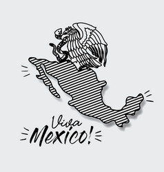 Viva mexico poster with map striped and emblem of vector