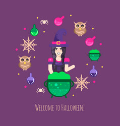witches cauldron halloween composition vector image vector image