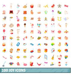 100 joy icons set cartoon style vector image