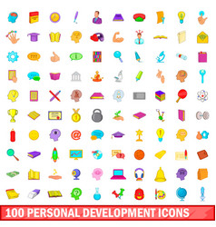 100 personal development icons set cartoon style vector image