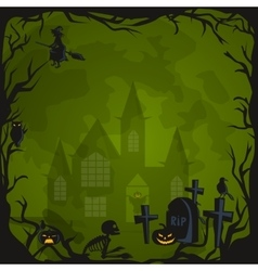 Halloween background horror forest with woods vector