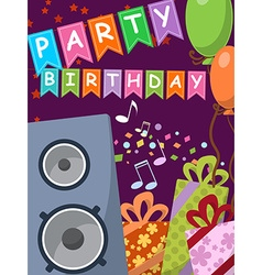 Birthday card with audio speakers gifts and flags vector