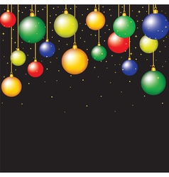 hanging baubles on black background vector image