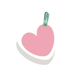 Clothespin holding relive pink heart in shade vector