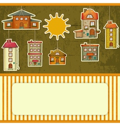 Set of Houses retro Card vector image