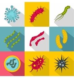 Viruses icons set flat style vector