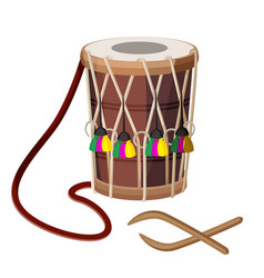 Drum percussion instrument double-headed dhol and vector