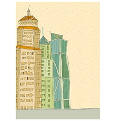 City towers drawing vector