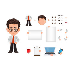 Business man cartoon character creation set vector