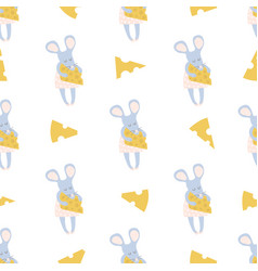 Seamless childish pattern with little mouse and vector