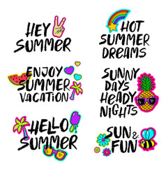 Hand drawn cartoon summer lettering set vector