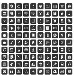 100 education icons set black vector