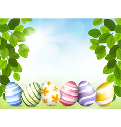 Card by easter with beautiful eggs vector