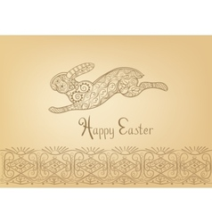 Easter folk ornament rabbit hand-drawn typography vector