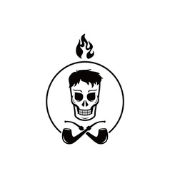 Skull tobacco pipe smoker vector