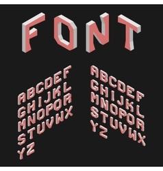 Isometric latin alphabet 3d geometric font three vector