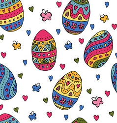 Hand sketched happy easter seamless pattern for vector