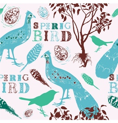 Retro Spring Birds Pattern vector image