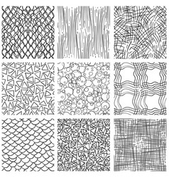 abstract pen sketch seamless pattern set vector image