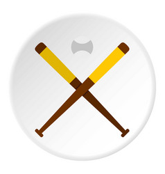 Baseball bats and baseball icon circle vector