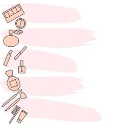 Beauty makeup accessories side banner flyer vector