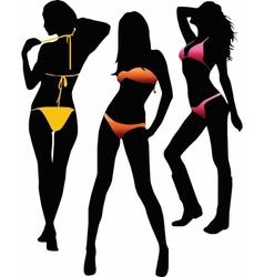 Bikini girls silhouette - vector image