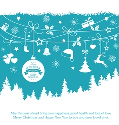 Blue monochrome Christmas ornaments fir vector image