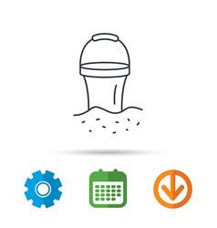 Bucket icon trash bin sign garden equipment vector