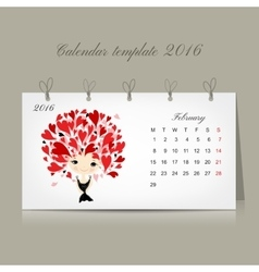 Calendar 2016 february month Season girls design vector image vector image