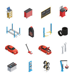 car maintenance service isometric icons vector image vector image